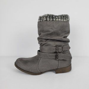Just Fab Grey Faux Suede Booties Size 7